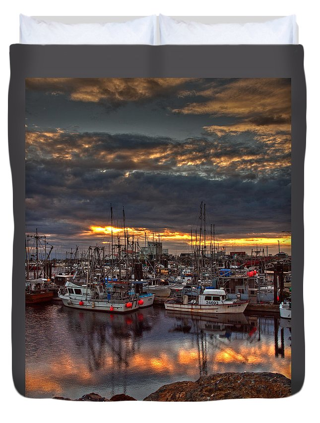 Boats Duvet Cover featuring the photograph French Creek Sunrise by Randy Hall