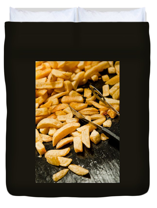 French Duvet Cover featuring the photograph French Fries by Luis Alvarenga