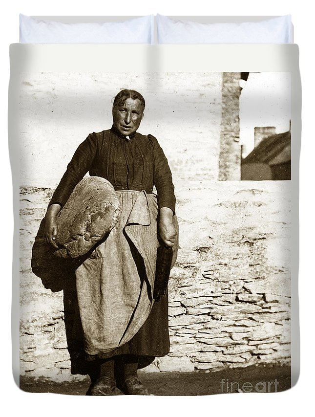 French Duvet Cover featuring the photograph French Lady With A Very Large Bread France 1900 by California Views Archives Mr Pat Hathaway Archives