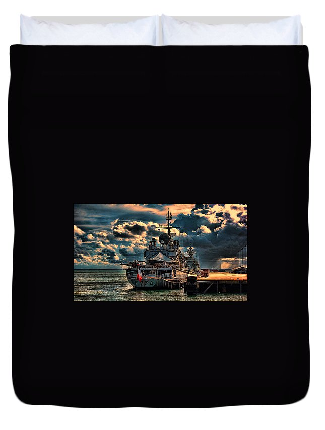 French Duvet Cover featuring the photograph French Naval Frigate by Douglas Barnard