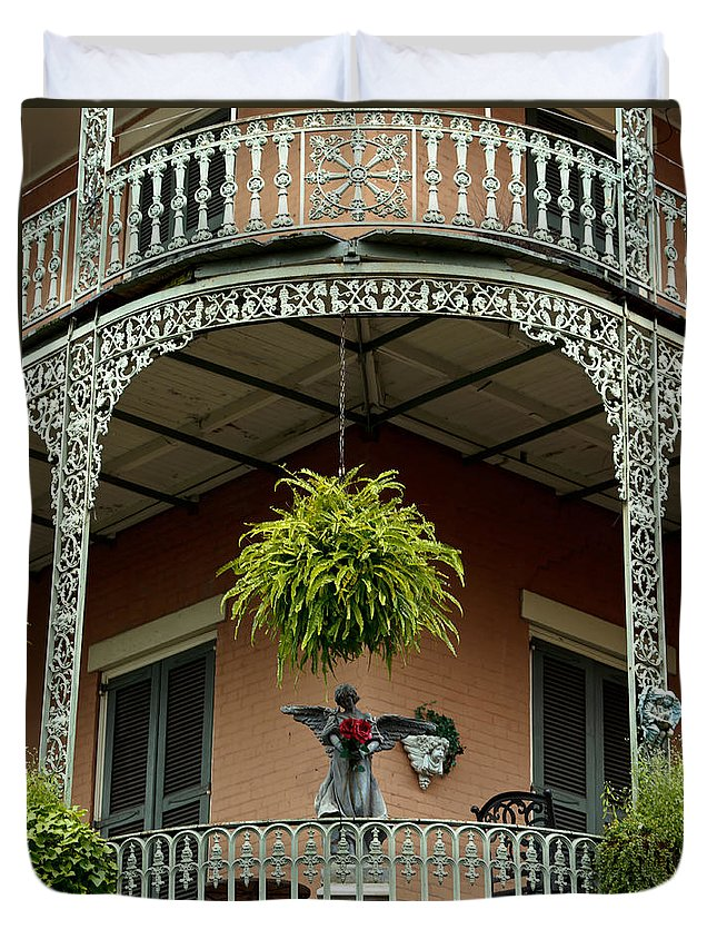 New Orleans Duvet Cover featuring the photograph French Quarter Balcony by Susie Hoffpauir