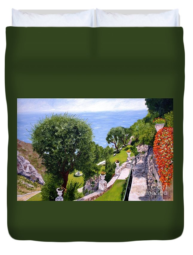 Landscape Duvet Cover featuring the painting French Riviera by Graciela Castro