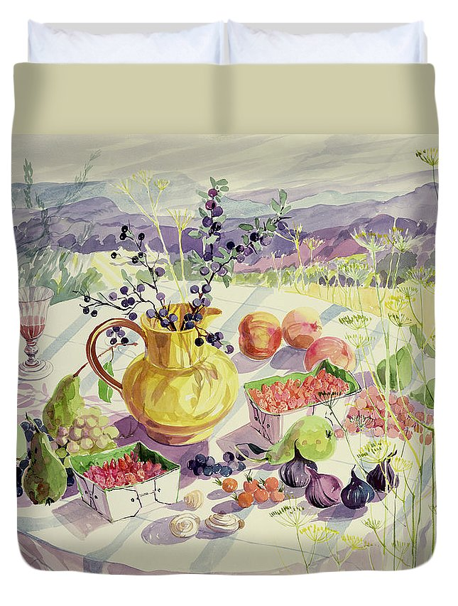 Flower Duvet Cover featuring the painting French Table by Elizabeth Jane Lloyd