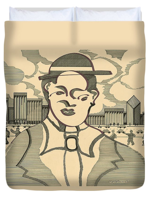 Frenchman Duvet Cover featuring the drawing Frenchman by Vince MacDermot