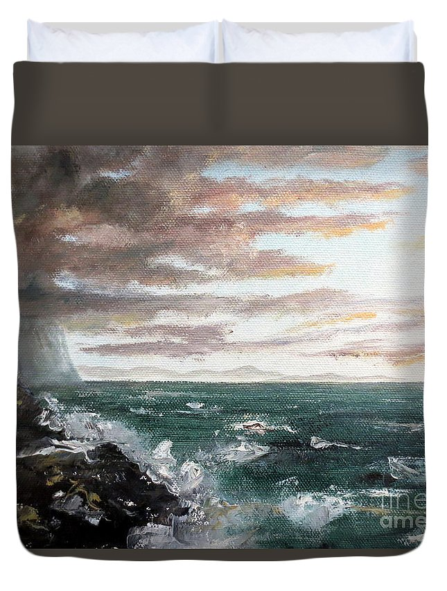 Ocean Duvet Cover featuring the painting Frenchman's Bay by Lee Piper