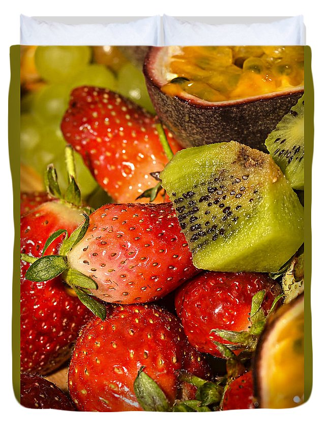 Kiwi Fruit Duvet Cover featuring the photograph Fresh Fruit Salad by Tomi Junger