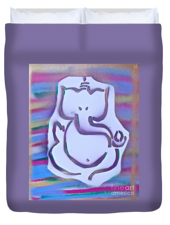 Graffiti Duvet Cover featuring the painting Fresh Ganesh 1 by Tony B Conscious