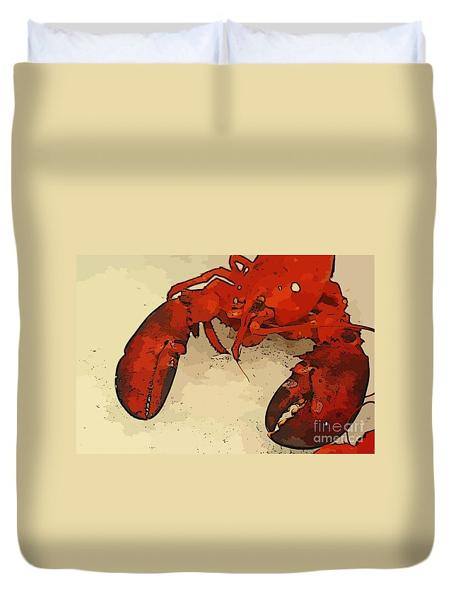 Lobster Art Duvet Cover featuring the photograph Fresh Lobster by John Malone