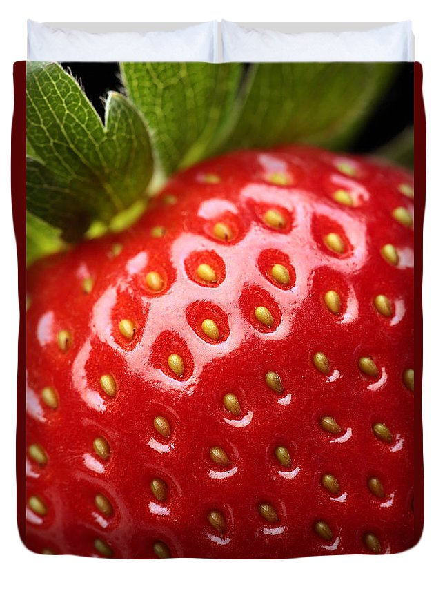 Strawberry Duvet Cover featuring the photograph Fresh strawberry close-up by Johan Swanepoel