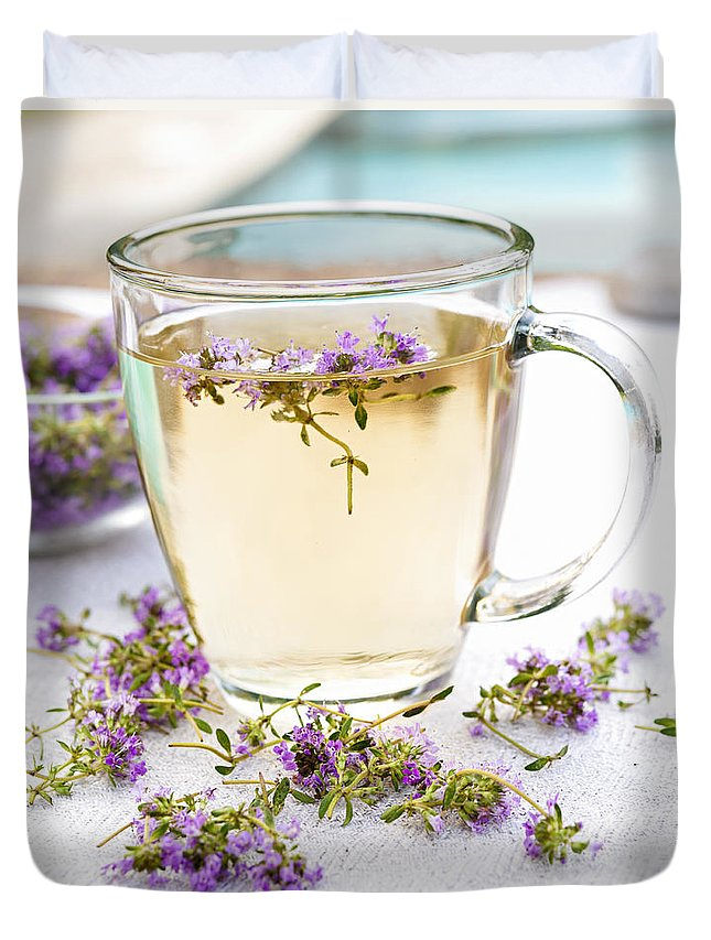Tea Duvet Cover featuring the photograph Fresh Thyme Tea by Elena Elisseeva