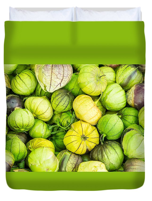Agriculture Duvet Cover featuring the photograph Fresh Tomatillos by John Trax