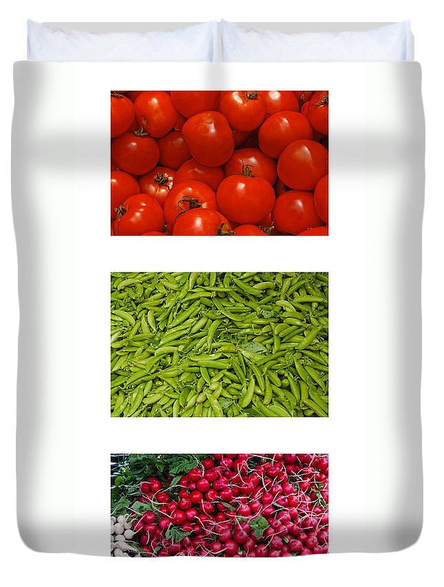 Tomato Duvet Cover featuring the photograph Fresh Vegetable Triptych by Thomas Marchessault