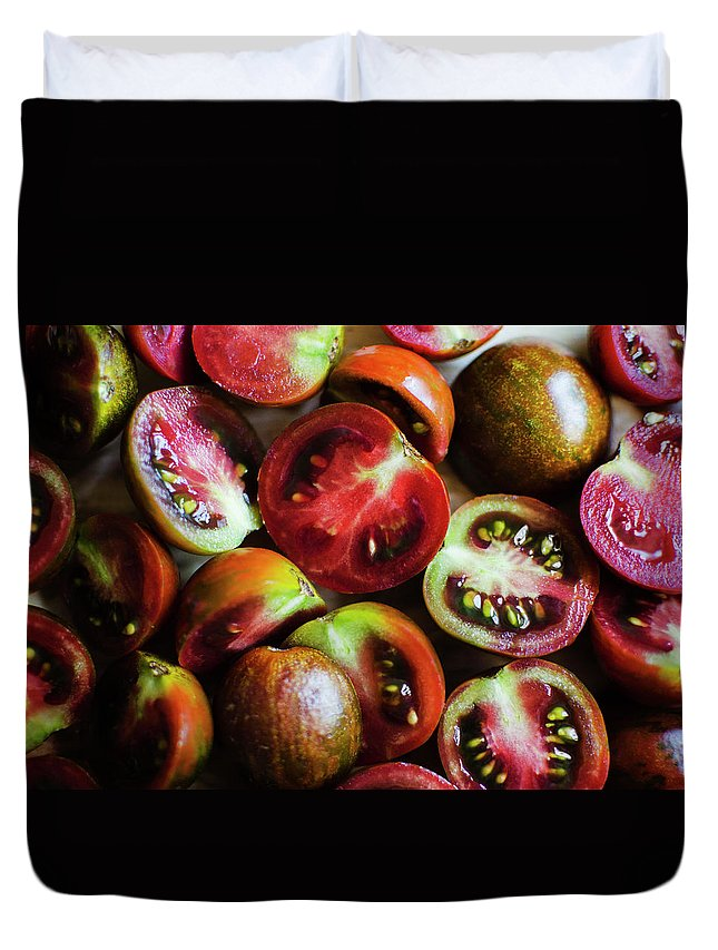 Tranquility Duvet Cover featuring the photograph Freshly Cut Tomatoes by Jamie Grill