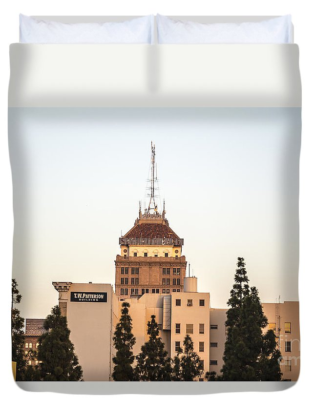 Downtown Duvet Cover featuring the photograph Fresno Security Bank Building by Cj Avery