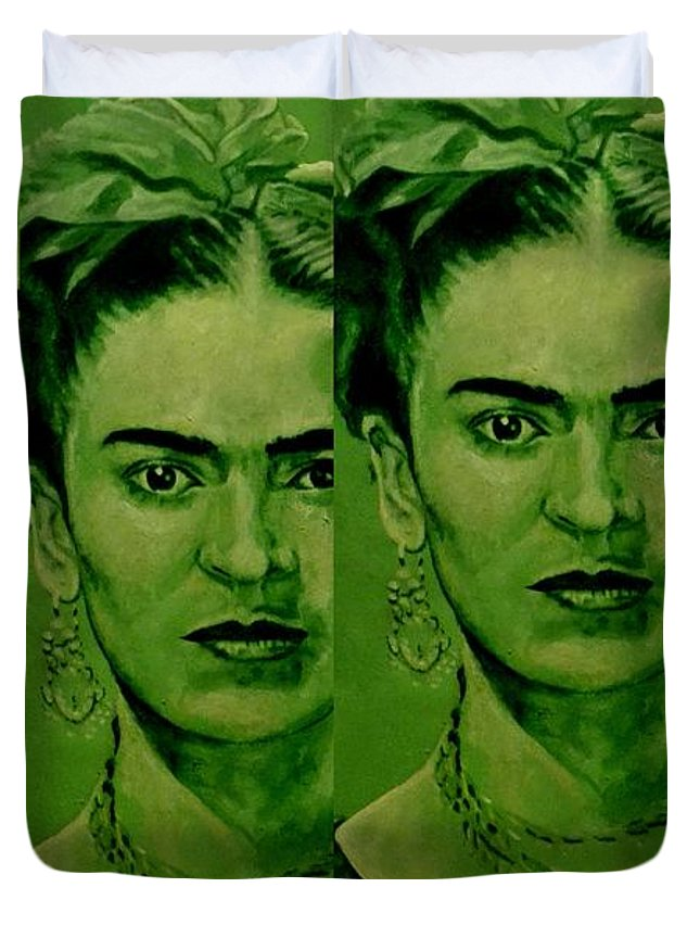 Frida Duvet Cover featuring the painting Frida 4u by Richard Tito
