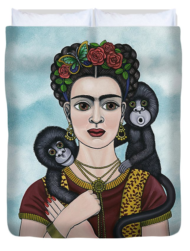 Frida Kahlo Duvet Cover featuring the painting Frida In The Sky by Victoria De Almeida