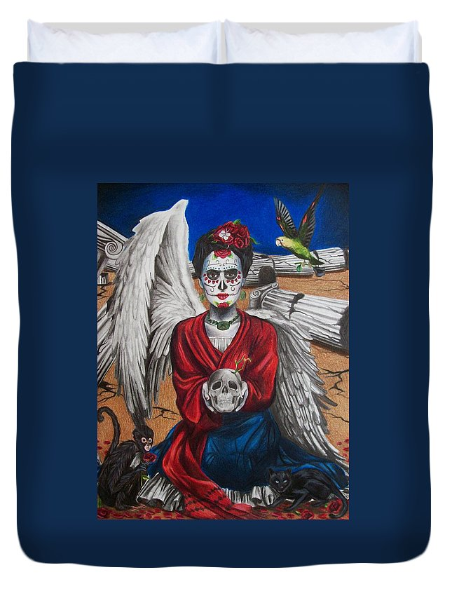 Frida Kahlo. Dia De Los Muertos Duvet Cover featuring the drawing Frida Kahlo by Amber Stanford