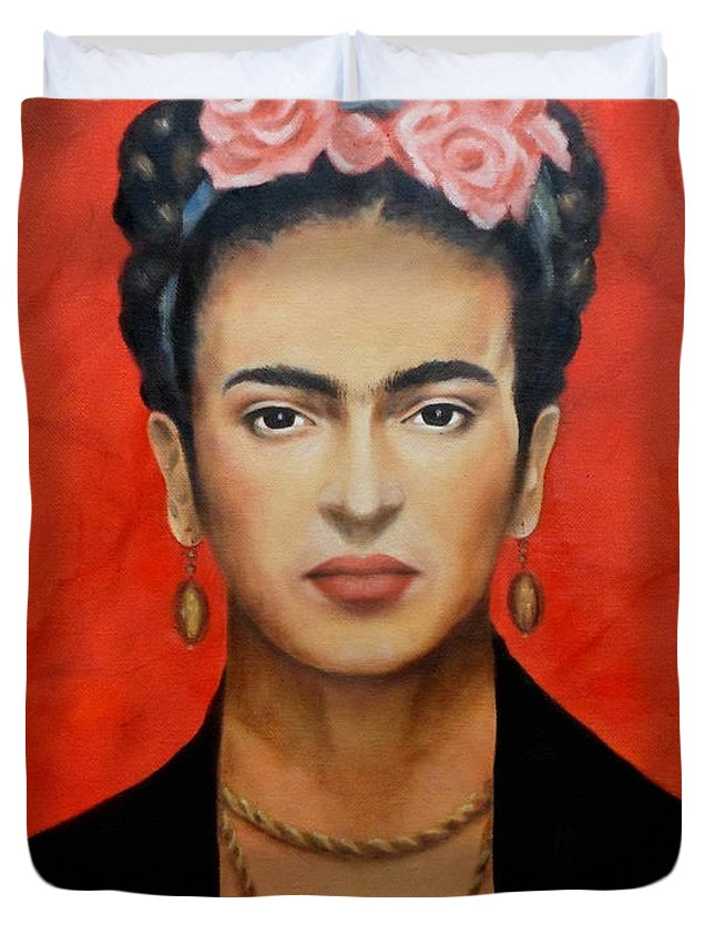 Frida Duvet Cover featuring the painting Frida Kahlo by Yelena Day