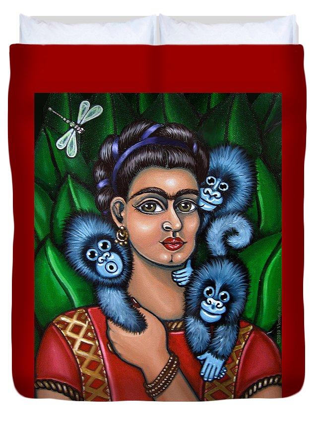 Folk Art Duvet Cover featuring the painting Fridas Triplets by Victoria De Almeida