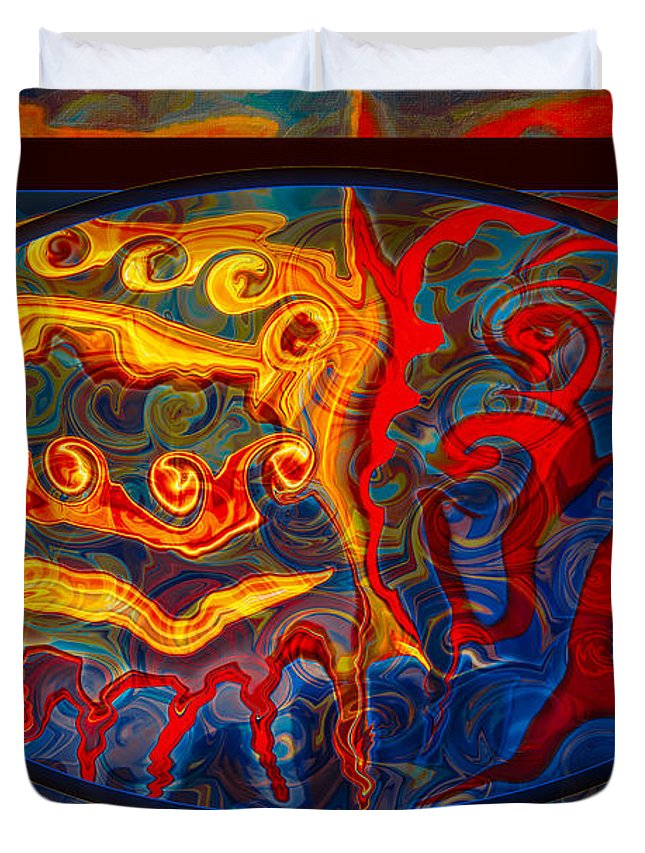Edited Jan 2013 Duvet Cover featuring the painting Friendship And Love Abstract Healing Art by Omaste Witkowski