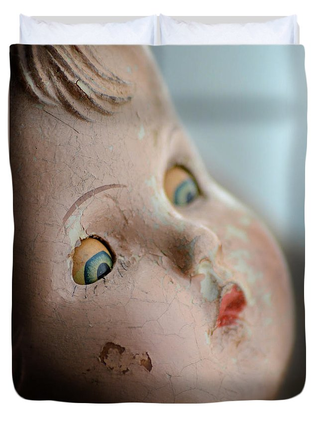 Doll Duvet Cover featuring the photograph Frightened Vintage Doll Face by Jill Battaglia