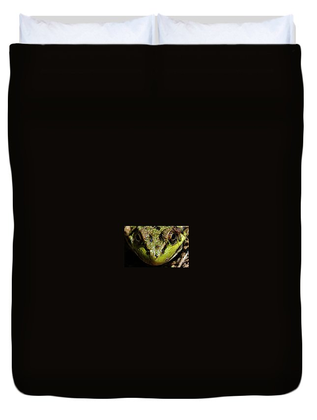 Frog Duvet Cover featuring the photograph Frog Face by Jes Fritze