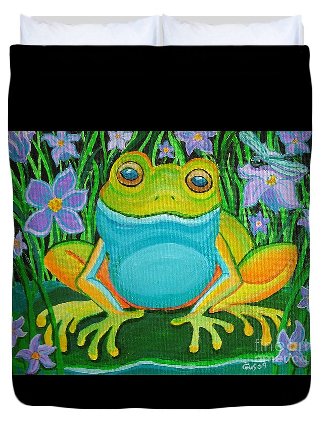 Ffrog Art Duvet Cover featuring the painting Frog On A Lily Pad by Nick Gustafson