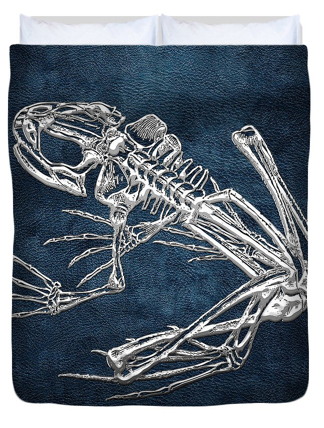 'precious Bones' Collection By Serge Averbukh Duvet Cover featuring the digital art Frog Skeleton In Silver On Blue by Serge Averbukh