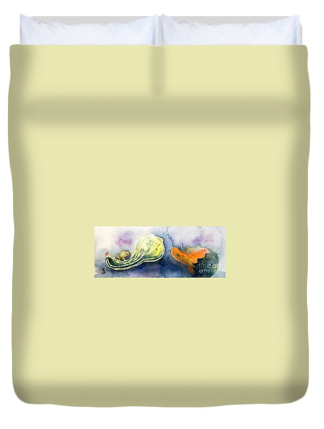 Still Life Duvet Cover featuring the painting Froggy And Gourds by Yoshiko Mishina