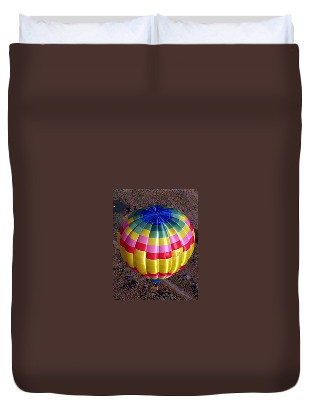 Hot Air Balloon Duvet Cover featuring the photograph From Above by Mary Rogers