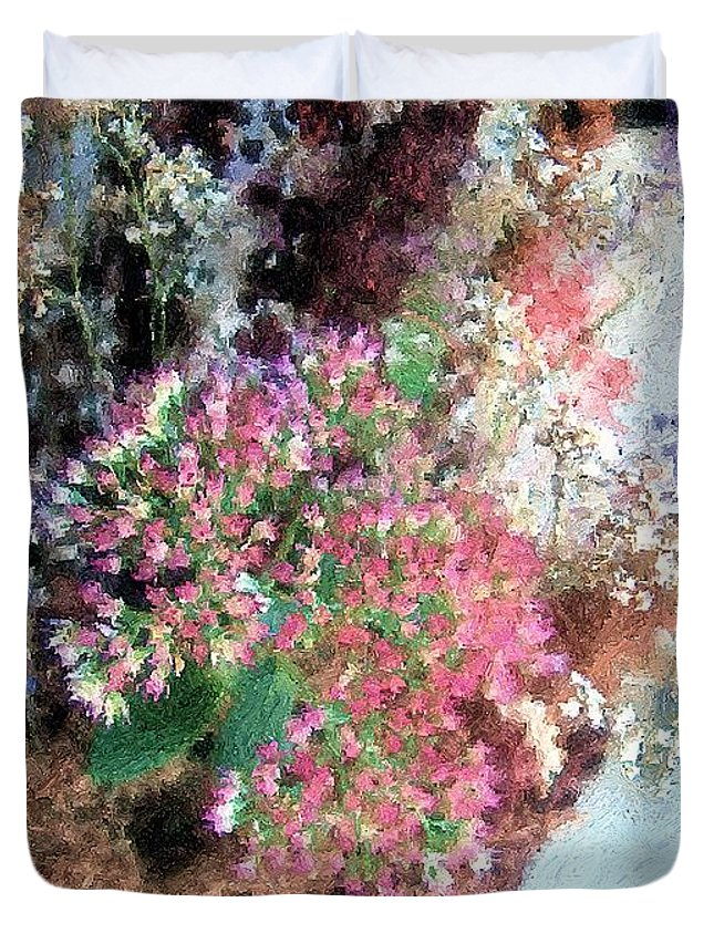 Flowers Duvet Cover featuring the painting From Her Secret Admirer by RC DeWinter