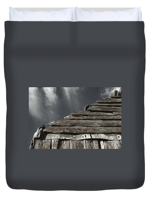 Old Building Duvet Cover featuring the photograph From Here by Totally Talliesen