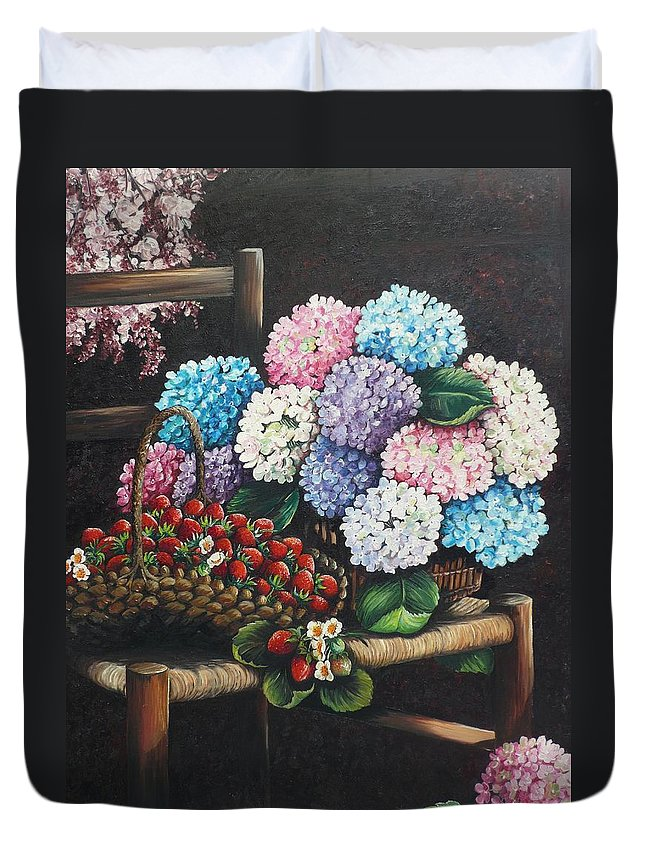 Hydrangea Paintings Floral Paintings Botanical Paintings Flower Paintings Blooms Hydrangeas Strawberries Paintings Red Paintings Basket Paintings Pink Paintings Garden Paintings  Blue Paintings  Greeting Card Paintings Canvas Paintings Poster Print Paintings  Duvet Cover featuring the painting From My Garden by Karin Dawn Kelshall- Best