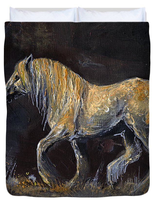 Shire Horse Duvet Cover featuring the painting From The Darkness by Angel Ciesniarska