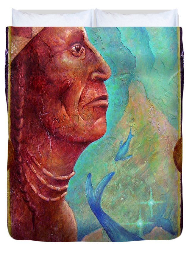 Native American Duvet Cover featuring the painting From The Depths by Kevin Chasing Wolf Hutchins