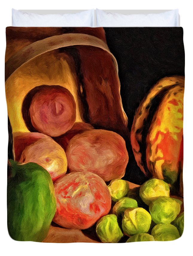 Vegetables Duvet Cover featuring the painting From The Garden by Michael Pickett