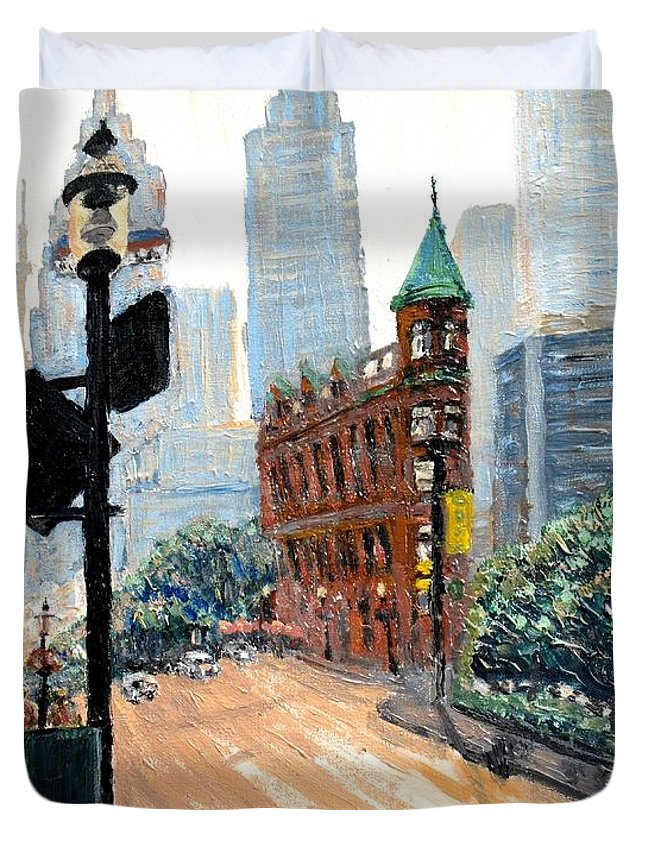Toronto Duvet Cover featuring the painting Front And Church by Ian MacDonald
