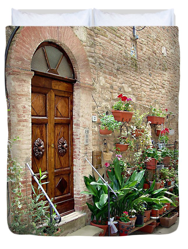 Front Door Duvet Cover featuring the photograph Front Door by Ellen Henneke