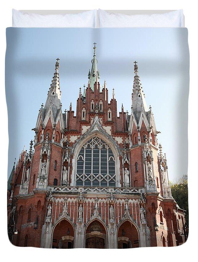 St Joseph's Church Duvet Cover featuring the photograph Front Entrance To St Joseph Church Krakow by Deborah Benbrook