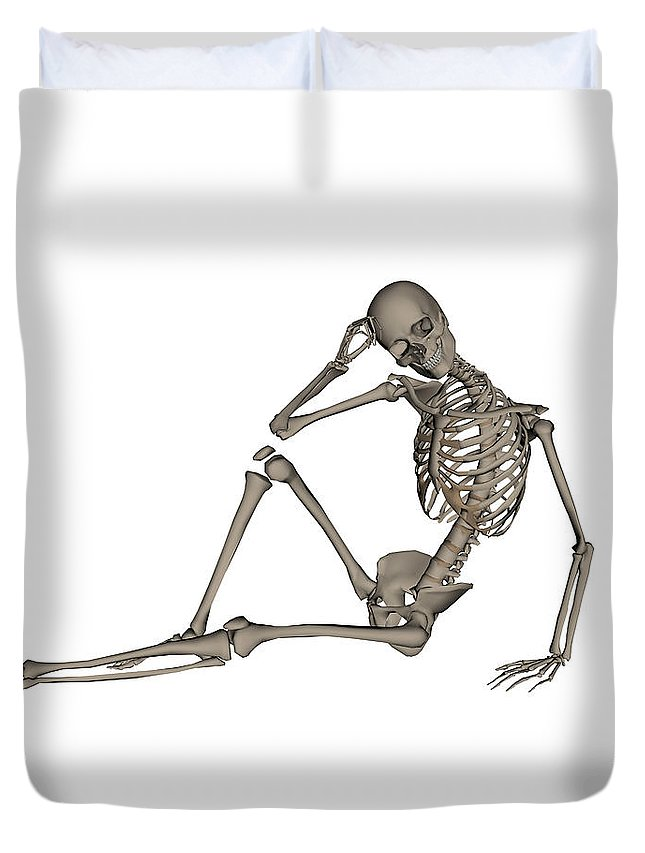 Skeleton Duvet Cover featuring the photograph Front View Of A Human Skeleton Posing by Elena Duvernay