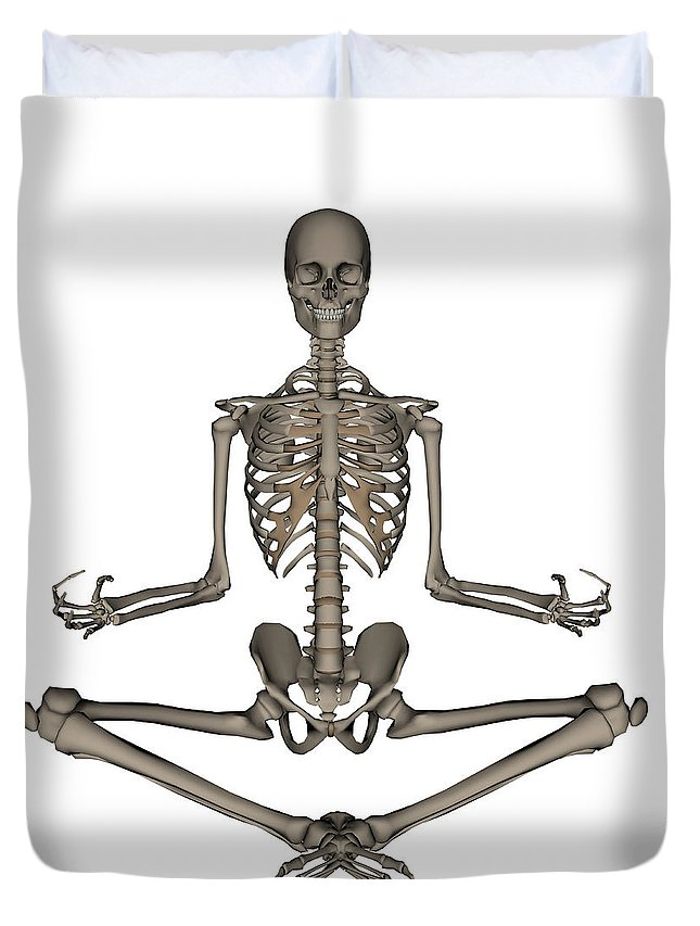 Skeleton Duvet Cover featuring the photograph Front View Of Human Skeleton Meditating by Elena Duvernay