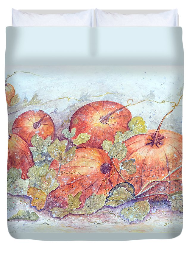 Pumpkin Patch Duvet Cover featuring the painting Frost on the Pumpkin by Ben Kiger