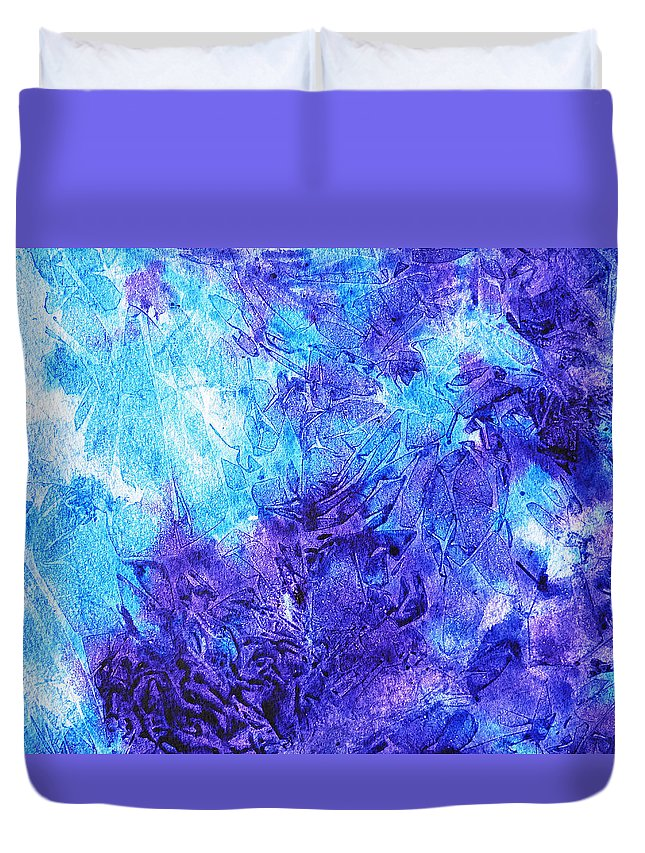 Frosted Duvet Cover featuring the painting Frosted Window Abstract IIi by Irina Sztukowski