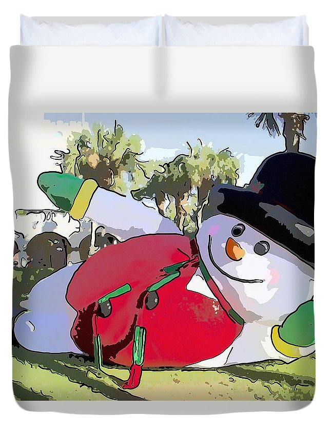 Frosty Duvet Cover featuring the photograph Frosty Is Here by Alice Gipson