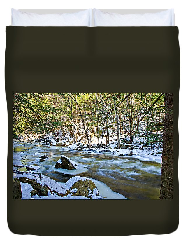 Water Duvet Cover featuring the photograph Frosty River by Donna Doherty
