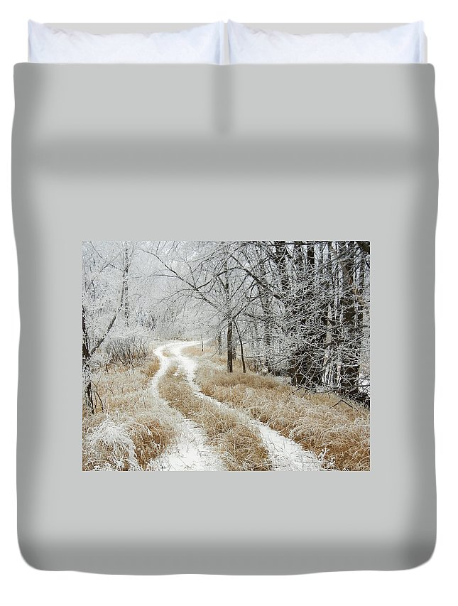 Trail Duvet Cover featuring the photograph Frosty Trail 2 by Penny Meyers