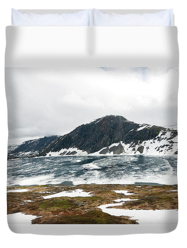 Tranquility Duvet Cover featuring the photograph Frozen Lake - Dalsnibba Mountains by Thierry Dosogne