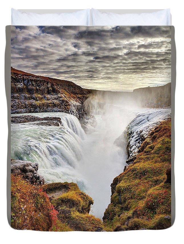 Scenics Duvet Cover featuring the photograph Frozen Mist On Autumn Day At Gullfoss by Anna Gorin