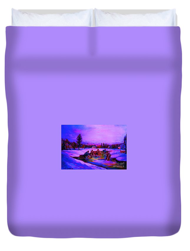 Hockey Duvet Cover featuring the painting Frozen Pond by Carole Spandau