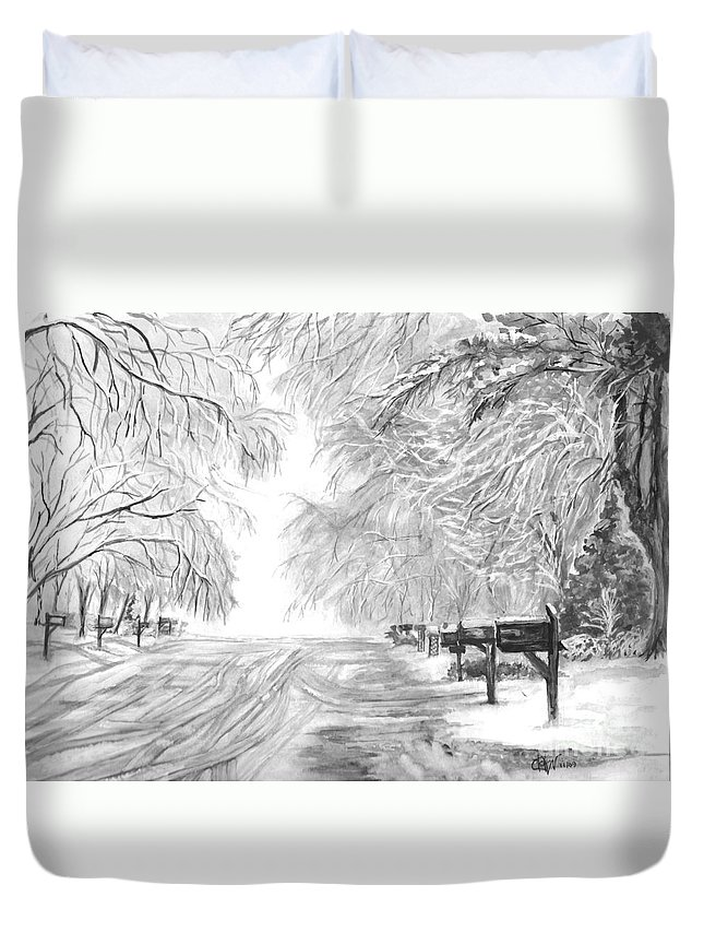A Familiar Sight Duvet Cover featuring the painting Frozen Rain by Carol Wisniewski